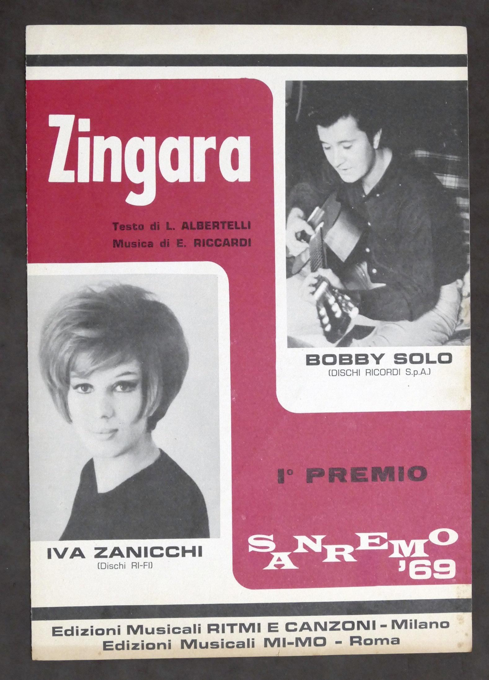 Musica, opera: Spartito - Iva Zanicchi - Zingara - Canto mandolino o  fisarmonica - Sanremo 1969